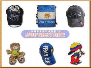 soccer' hats , bags , toys , patches