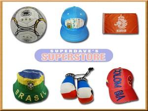 soccer' balls, hats, flags, mini boxing glovers