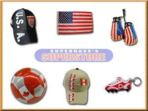 soccer' hats, flags, mini boxing glovers, soccer shoe cleat keychains