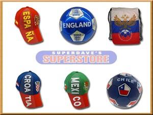 soccer' hats , balls , bags